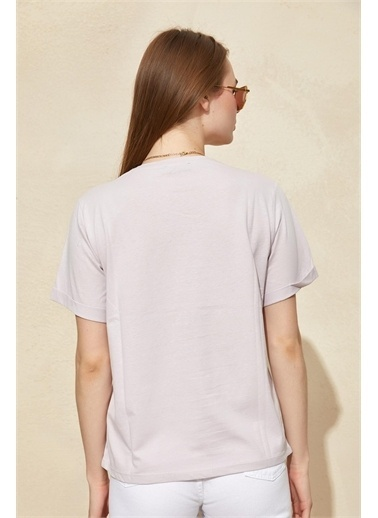Setre Lila Kısa Kol Baskılı T-Shirt Lila